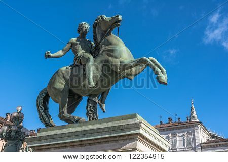Turin,Italy,Europe - March 3,  2016 : The bronze equestrian statue of Castor in front of Palazzo Reale