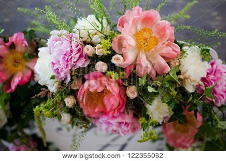 Wedding table setting with big flowers , pions ** Note: Visible grain at 100%, best at smaller sizes