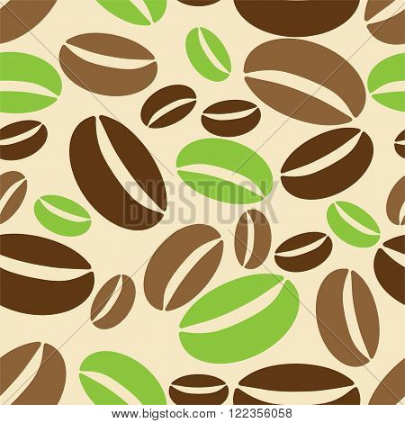 Seamless background with coffe beans. Illustration 10 version.