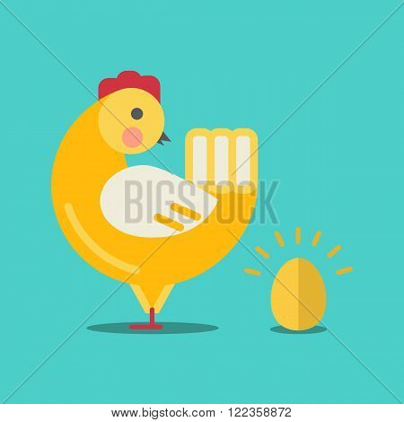 Cute cartoon chicken and gold egg.Cartoon chicken vector bird flat style.Chicken bird isolated on background.Chicken farm bird.Vector Cute Chicken character farm animal bird.Golden egg