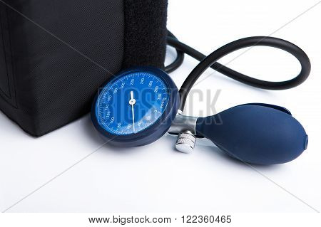 Holding In Hand Sphygmomanometer Isolated On White Background