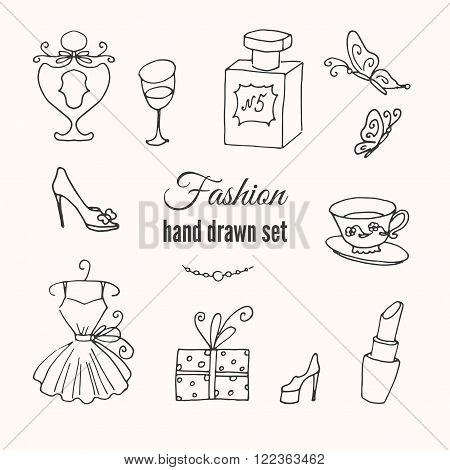 Vector fashion hand drawn elements set. Hand sketched collection of french style. Europe fashion elegance doodle set.
