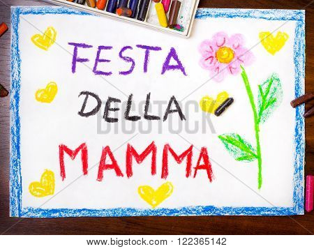 Colorful drawing - Italian Mother's Day card with words 'Mother's day'