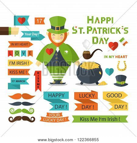 St.Patrick Day  Icons collection flat style.St.Patrick Day  Icons isolated vector.St. Patrick's Day vector design elements set.St. Patrick's Day icons for holiday design.St. Patrick's Day vector