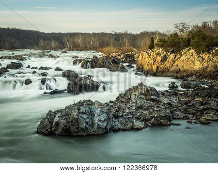 Timed exposure of the cascades on the Great Falls of the Potomac in late afternoon