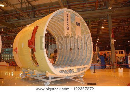 ANKARA/TURKEY- APRIL 29, 2015: Main fuselage barrel of Airbus Military A400m aircraft at the Turkish Aerospace Industry-TAI's hangar. April 29, 2015-Ankara/Turkey
