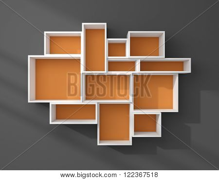 3d rendered composition of empty modern shelves.