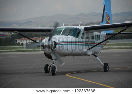 ANKARA/TURKEY-MAY 6: Cessna 206 Caravan aircraft at the Turkish Air Association-THK's Etimesgut Airport during the Air fest. May 6, 2012-Ankara/Turkey