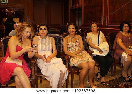 ANKARA/TURKEY-JUNE 24: High society women at the Hilton-Sa Ankara Hotel during the wedding ceremony.June 24, 2015-Ankara/Turkey