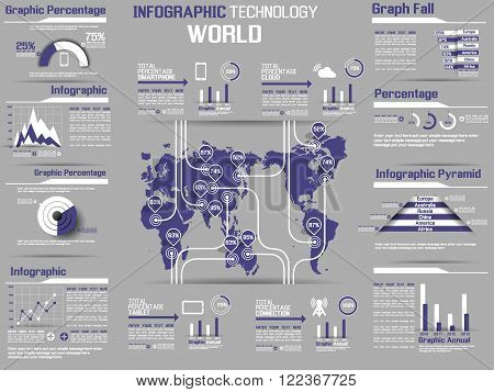INFOGRAPHIC COLLECTION ELEMENT TECHNOLOGY WORLD VIOLET for web and other