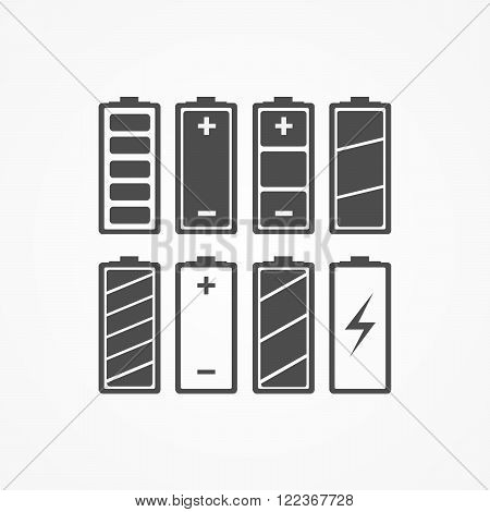 Battery charge icons - vector illustration. The battery icons with a various level of charge. Set of monochrome battery icons charge level