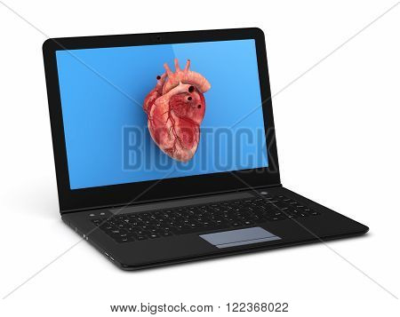 Human heart on a screen of notebook isolated on white.