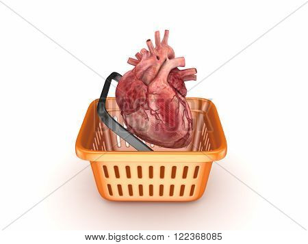 Reaistic human heart in a basket isolated on white. 3d rendered.