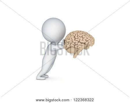 3d small person pushing a human brain isolated on white.