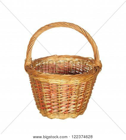 Empty large wicker basket isolated on white background.