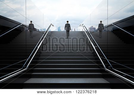 Black stairs in pedestrian subway with businessman. 3D Render