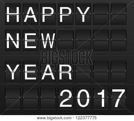 Happy New Year 2017 card in display board style (solari board flightboard flipboard)