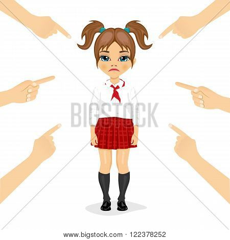pretty little schoolgirl  eing accused with fingers pointing at her isolated over white background