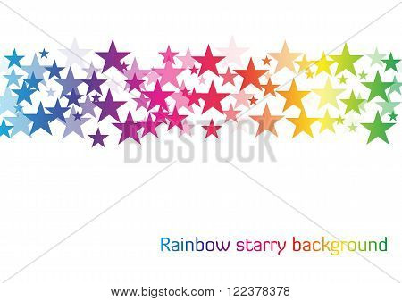 Rainbow starry background - white background with line of stars in rainbow colors with different transparency