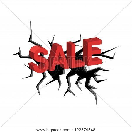 crack on a white background and red letters Sale