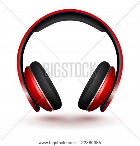 Realistic Red Vector headphones isolated on white.