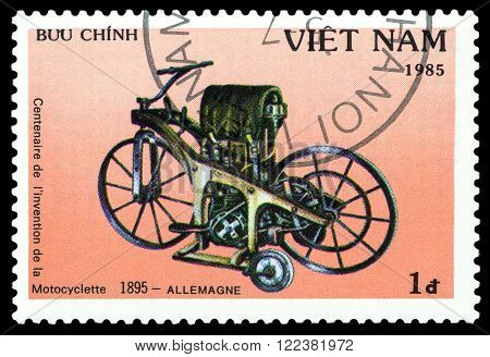 VIETNAM - CIRCA 1975 : a stamp printed in Vietnam shows an old motorcycle Germany 1895 stamp devoted to the centenary of the invention of motorcycle cirka 1985