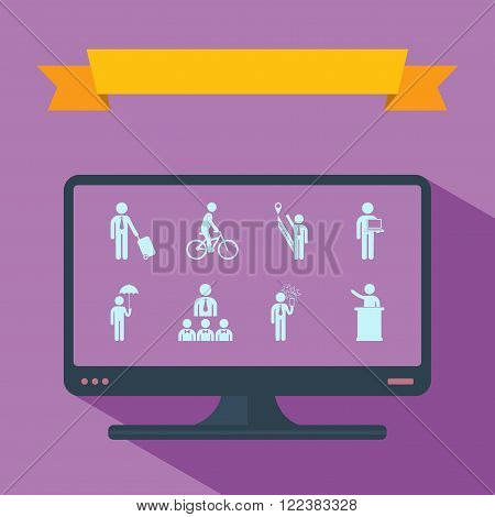 stick figure of human silhouette on monitor. vector picture