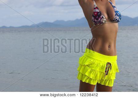 sexy tanned torso in the sea