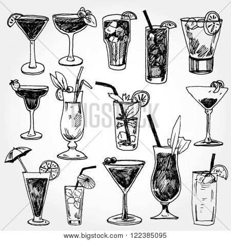 Set of Coctails Hand Drawn