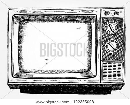 Hand Drawn Vintage TV