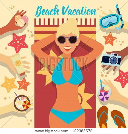 Beach Vacation. Summer Time. Tropical Holidays. Woman on the Beach. Girl Taking a Sunbath. Travel Banner. All Inclusive. Sea Resort. Vector illustration