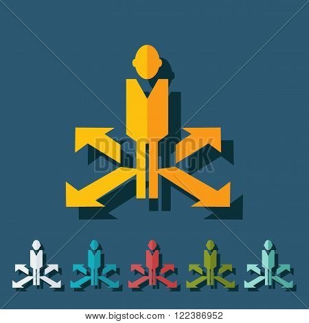 stick figure of human silhouette arrows. vector picture