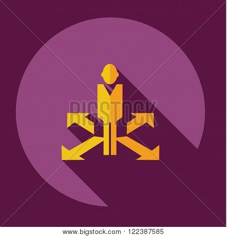 stick figure of human silhouette with arrows. vector picture
