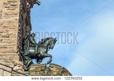 Wilhelm I Monument on Kyffhaeuser Mountain Thuringia Germany under blue sky
