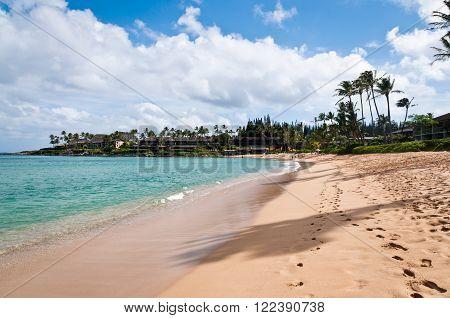 Footprints at the Napili beach in Maui