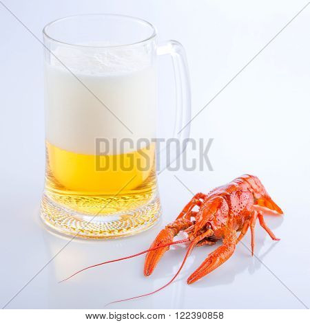 crayfish with a glass of fresh foaming beer, close-up