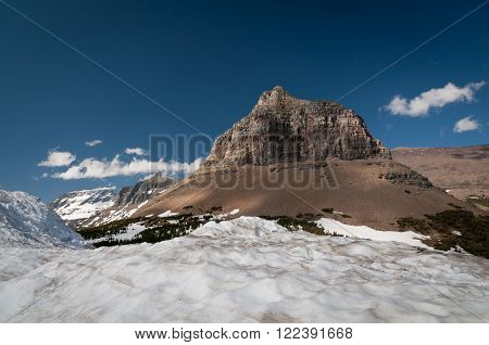 Bare mountaintop above the snow level at Glacier National park
