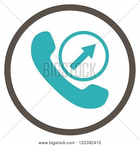 Outgoing Call vector bicolor icon. Picture style is flat outgoing call rounded icon drawn with grey and cyan colors on a white background.