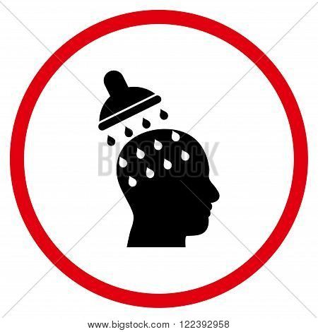 Brain Washing vector bicolor icon. Picture style is flat brain washing rounded icon drawn with intensive red and black colors on a white background.