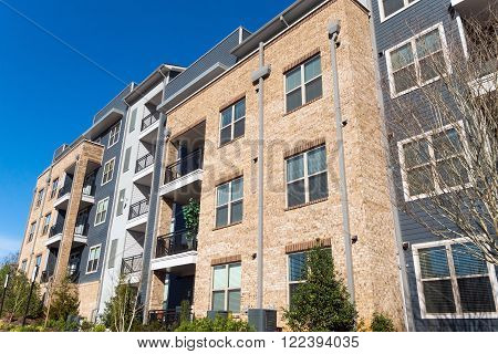 New modern apartment building exterior with balconies
