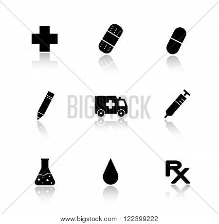 Hospital drop shadow icons set. Ambulance car, medicine pill, blood drop symbol, medical lab beaker, prescription sign, bandaid. Cast shadow logo concepts. Vector black silhouette illustrations poster