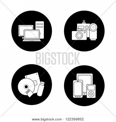 Consumer electronics black icons set. Web store categories, modern digital accessories, data storage devices, portable multimedia gadgets. White silhouettes illustrations. Logo concepts. Vector
