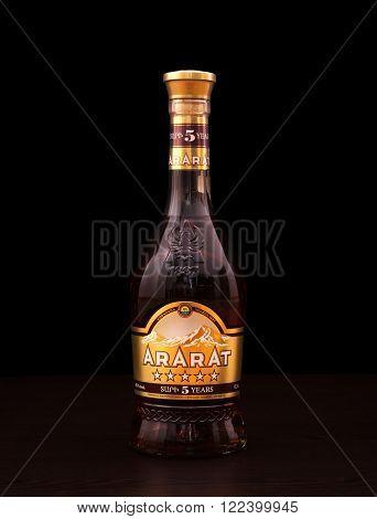 Tbilisi Georgia March 1 2016: A bootle of cognac Ararat. Ararat ia very famous and popular Armenian brandy