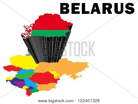 Outline map of Eastern Europe with Belarus raised and highlighted with the national flag