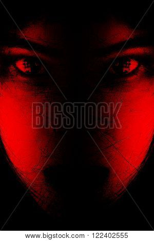 Red is scary,Portrait of scary girl staring at cameras,Background for halloween concept and movie poster project