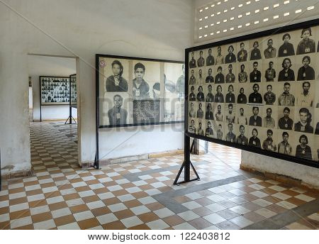 Phnom Penh Cambodia - March 17 2015 : Tuol Sleng prison of the Khmer Rouge high school S-21 turned into a torture and execution center