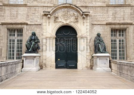 MONTPELLIER, FRANCE - JULY 13, 2013: Entrance to the University of Medicine and Cathedral St Pierre, Montpellier, France.
