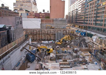Active construction site in New York City