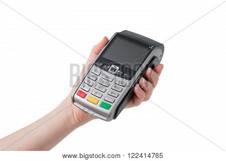 pos terminal in the hand on a white background