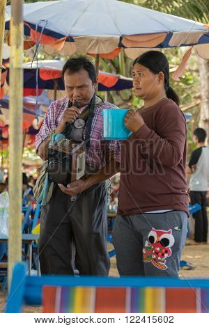 Rayong Thailand - December 31 2015 : Unidentified people blind sing a song at LaemMaePhim beach.